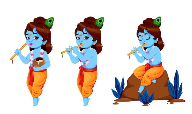 Happy krishna janmashtami set von drei posen lord krishna mit flöte happy janmashtami