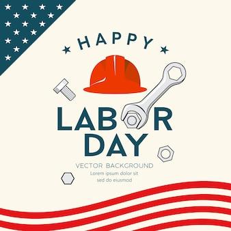 Happy labor day america ingenieur mütze und schraubenschlüssel vektor design hintergrund illustration