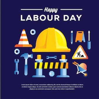 Happy labor day banner mit helm hammer bohrer zielfernrohr 1. mai design-vorlage