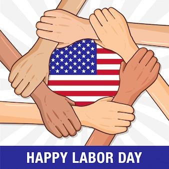 Happy labor day händchen haltend