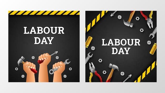 Happy labor day hintergrund mit amerikanischer flagge gelber streifen und tools