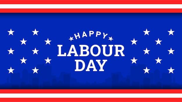 Happy labor day hintergrund mit gelbem streifen und werkzeugen der amerikanischen flagge