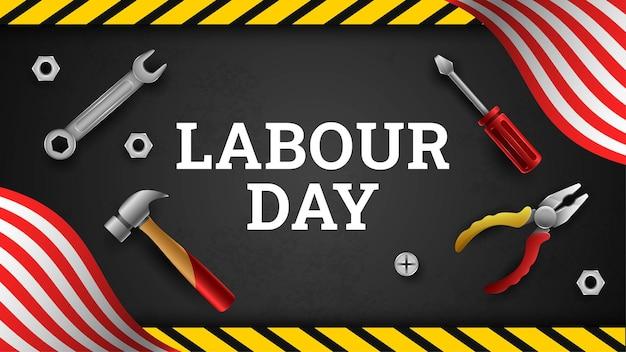 Happy labor day hintergrund mit gelben streifen und werkzeugen Premium Vektoren