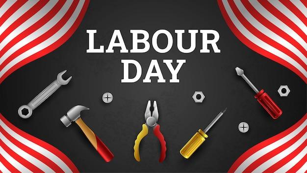 Happy labor day hintergrund mit gelben streifen und werkzeugen