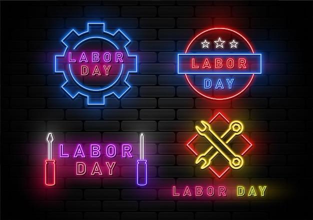 Happy labor day hintergrund mit neonlicht eingestellt
