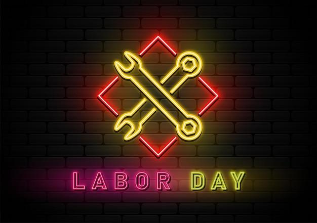 Happy labor day hintergrund mit neonlicht