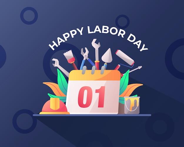 Happy labor day mit werkzeugen