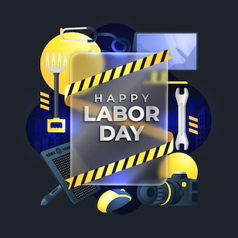 Happy labor day on glass morphism