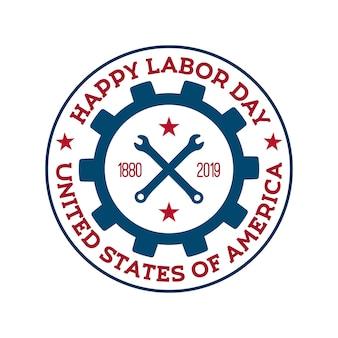 Happy labor day vektor abzeichen.