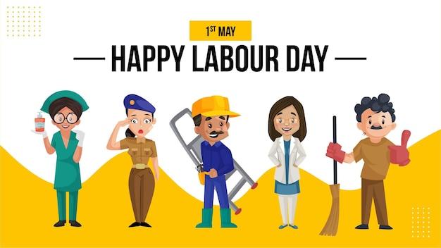 Happy labour day banner design vorlage