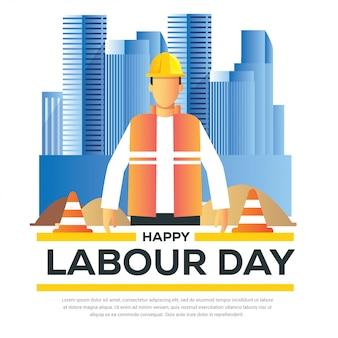 Happy labour day banner mit mann tragen helm und orange weste mit stadt gebäude hintergrund 1. mai design vorlage illustration