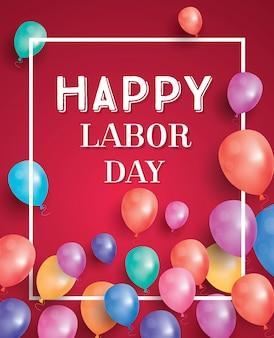 Happy labour day card mit luftballons und weißem rahmen.