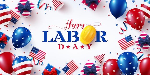 Happy labour day grußkarte, feier mit amerikanischen luftballons flaggen.