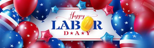 Happy labour day grußkarte, feier mit amerikanischer luftballons flagge.