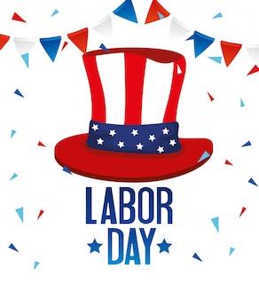 Happy labour day holiday illustration, flagge national der vereinigten staaten mit sam hut und girlanden dekoration