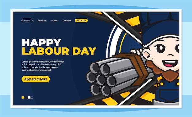 Happy labour day landingpage vorlage mit niedlichen zeichentrickfigur der arbeiter