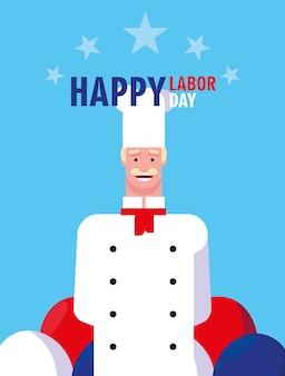 Happy labour day mit einem professionellen koch