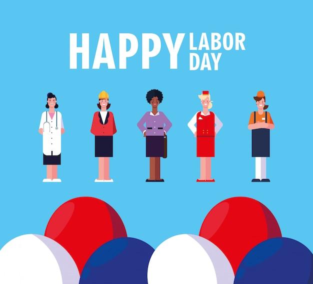 Happy labour day mit weiblichen fachleuten