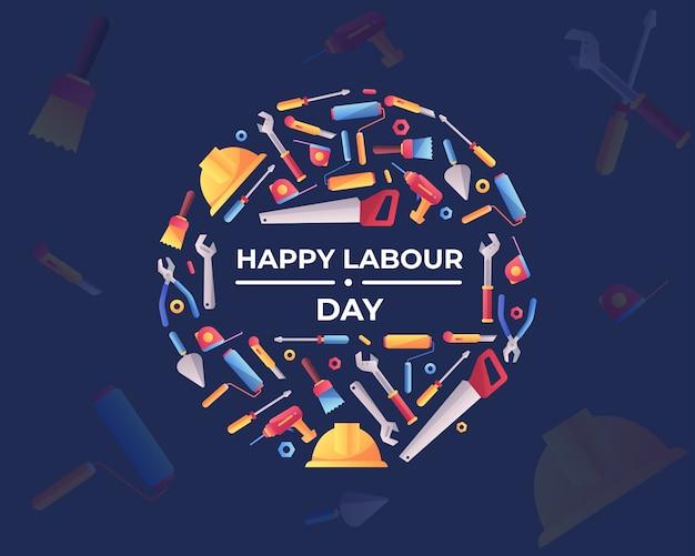 Happy labour day mit werkzeugkasten