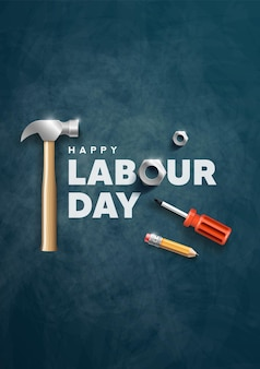 Happy labour day poster design illustration