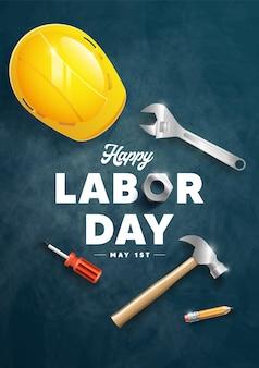 Happy labour day poster design illustration