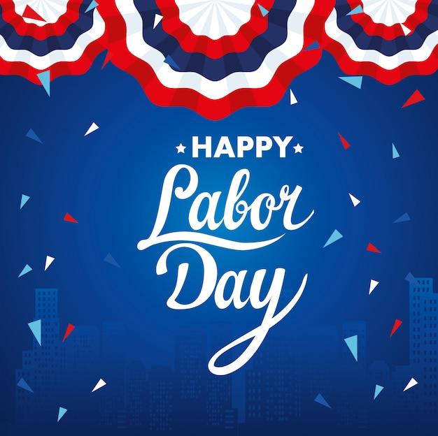 Happy labour day urlaub banner mit dekoration