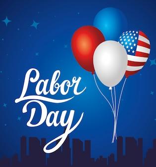 Happy labour day urlaub grußkarte mit nationalflagge der vereinigten staaten und luftballons helium dekoration