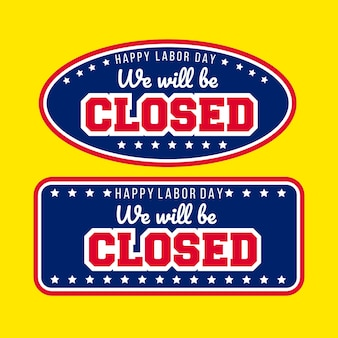 Happy labour day wir sind geschlossen abzeichen aufkleber