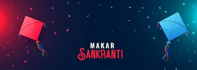 Happy makar sankranti banner mit fliegenden drachen