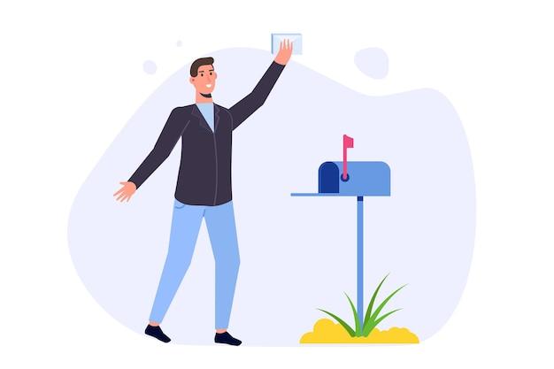 Happy man steht in der nähe des briefkastens und hat einen brief bekommen. vektor-illustration