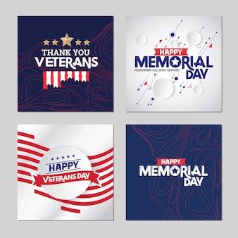 Happy memorial day ehrung aller, die mit usa-flagge gedient haben