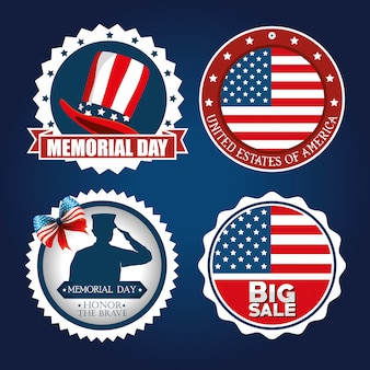 Happy memorial day feier set flyer