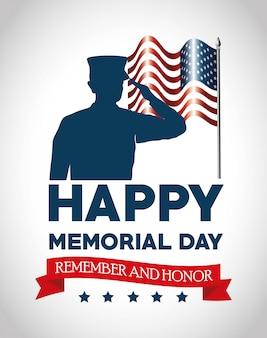 Happy memorial day-karte mit soldaten silhuette
