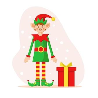 Happy merry christmas elf cartoon-figur mit geschenkbox und schneeflocken vector flate illustration