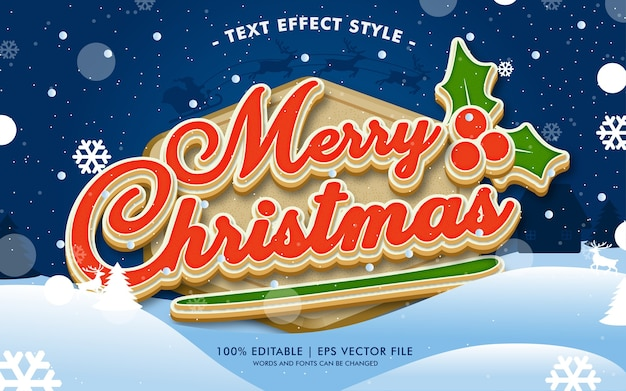 Happy merry christmas text effects style