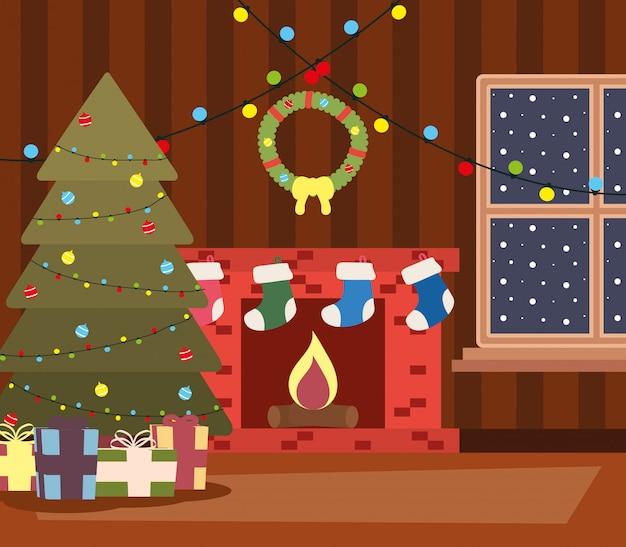 Happy mery christmas house place mit baum und geschenke-szene