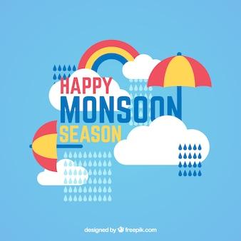 Happy monsoon hintergrund mit regenschirm und wolken in flachen design