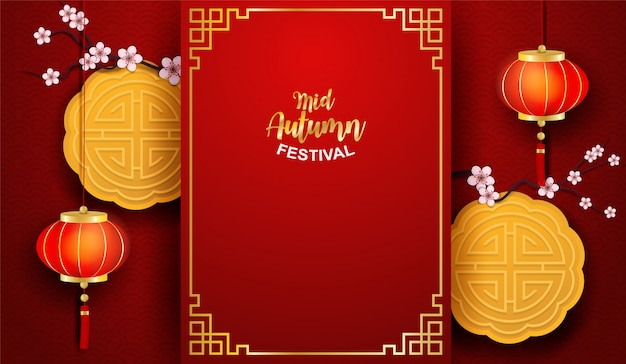 Happy moon kuchenfest, chinesisches mittherbstfest. design mit lampe und mondkuchen auf rotem hintergrund. hintergrund im papierkunststil.