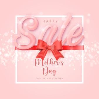 Happy mother's sale banner day süßes rotes band mit glänzendem bokeh-hintergrund