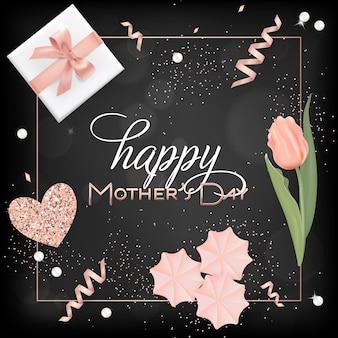 Happy mothers day banner mit blumen. muttertagsdesign mit goldenen glitzerelementen, geschenkbox für grußkarten, flyer, plakatverkaufsvorlage. vektor-illustration