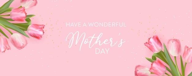 Happy mothers day banner realistisches tulpenblumen-design