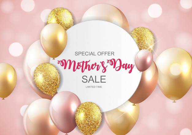 Happy mothers day cute sale banner mit luftballons