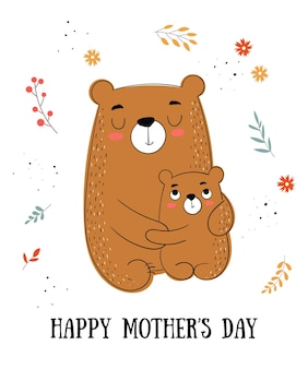 Happy mothers day postkarte vektor-cartoon-doodle-illustrationen mutterkatze mit einem kind