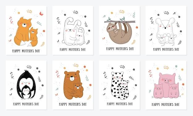 Happy mothers day postkartensammlung vektor-cartoon-doodle-illustrationen mutterkatze mit einem kind