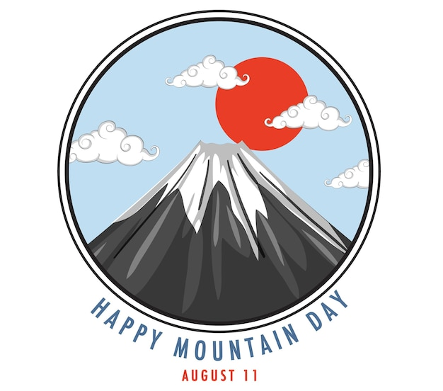 Happy mountain day in japan am 11. august banner mit mount fuji