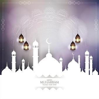 Happy muharram und islamische neujahrsgrußkarte mit moschee-vektor