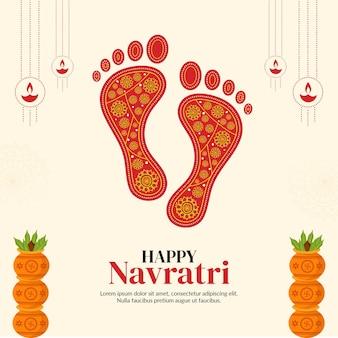 Happy navratri indian festival banner designvorlage