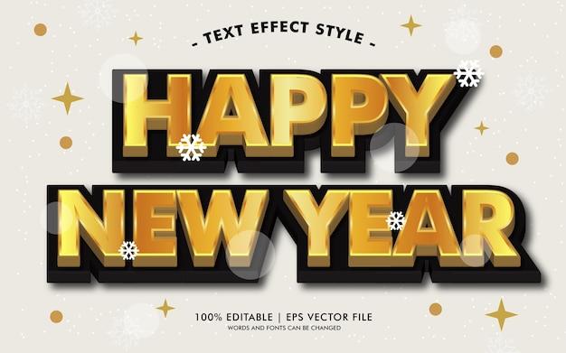 Happy new year black gold text effekte stil