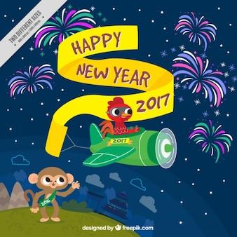 Happy new year hintergrund mit hahn, der ein kleines flugzeug fliegen