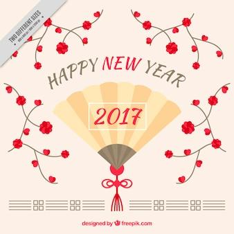 Happy new year hintergrund mit ventilator und blumen